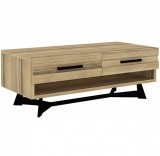 coffee table with 2 drawers oak wood