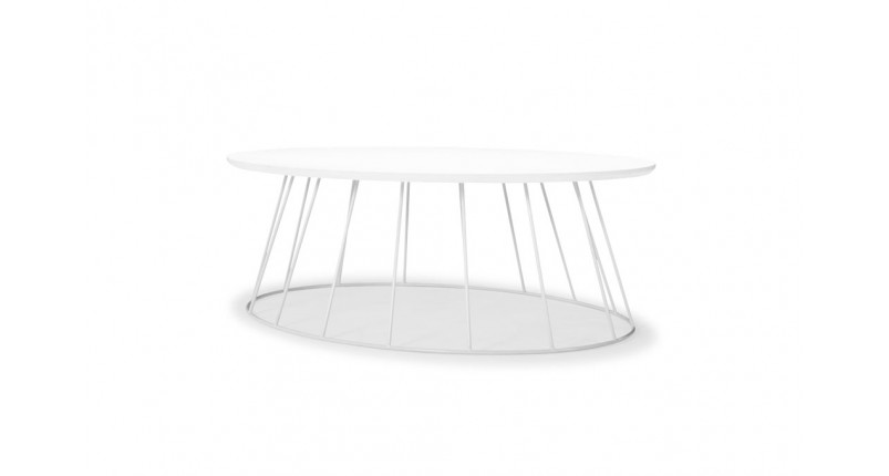 Oval coffee table iron frame